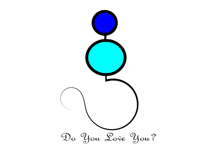 illustration of a woman-like figure. a circle for the head, connected by a line to a bigger circle for the torso, and a semi-circle for the bottom. underneath, the sentence: do you love you?