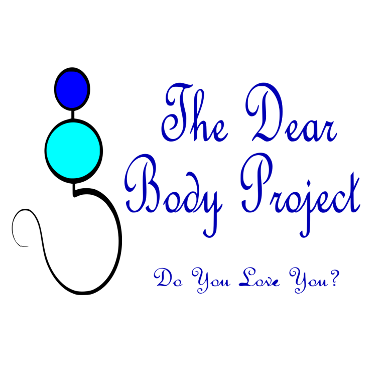 """logo made of a lady stick figure. a circle for the head, slightly bigger circle for the bust, and a bigger half circle for the bottom. on the right it reads """"the dearbody project. Do you love you?"""""""