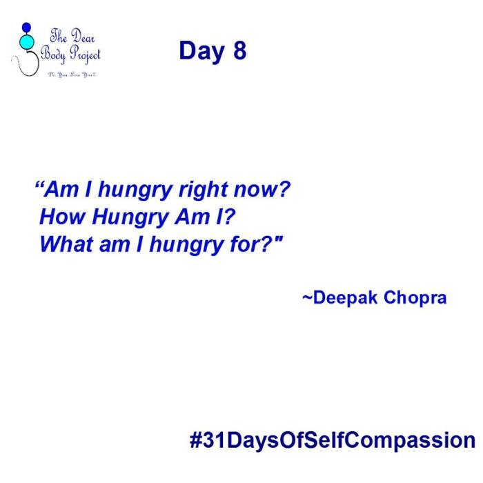 "white background, quote says ""Day 8. Am I hungry? How hungry am I? What am I hungry for? Deepak Chopra"""