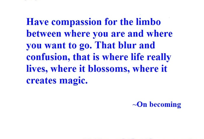Day 30. Have compassion for the limbo between where you are and where you want to go. That blur and confusion, that is where life really lives, where it blossoms, where it creates magic.