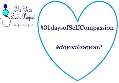 "white background, quote enclosed in a heart says "" 31 days of self compassion. Do you love you?"