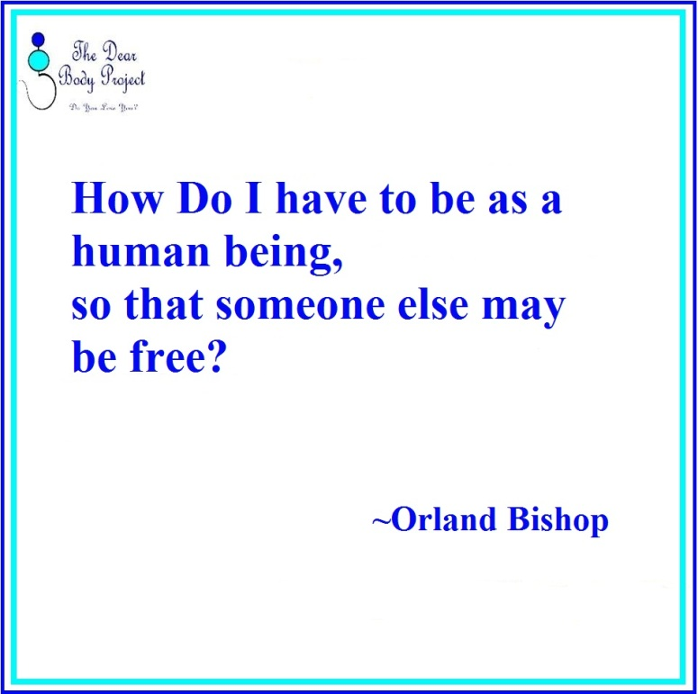 """quote on a white background. """"How do I have to be as a human being, so that someone else may be free""""?"""